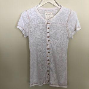 We The Free | Cream Button-Down Burnout Shirt